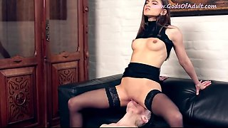 Sexy mistress in fetish lingerie femdom oral worship