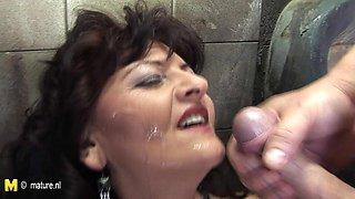 Horny Mature Slut Caught On A Public Toilet - MatureNL