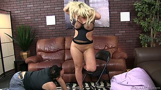 Dissolute blonde hoe Julie Cash dominates her kinky lover