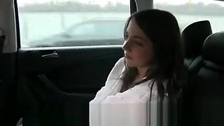 Cute Euroepan brunette student fuck in fake taxi