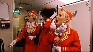 Ebony stewardess banged by pervert man in public toilet