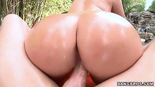 Ava Alvares's big oiled ass gets fucked