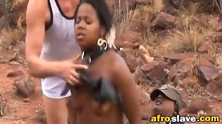 fortunate ebony bitch got her tight unused holes abused outdoors