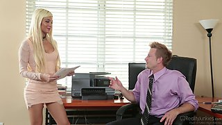 Horny secretary Elizabeth Jolie bounces on a fellow's cock