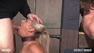 Slave sluts in a dungeon foursome take a hard fucking