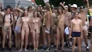 Naked students do a running protest