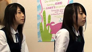 Rena Konishi nice Asian teen in school uniform fucks hard