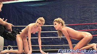 European beauties enjoy nude wrestling