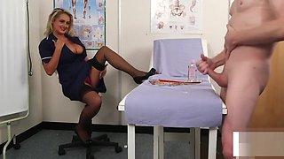 CFNM voyeur nurse instructing jerkoff at doctors office