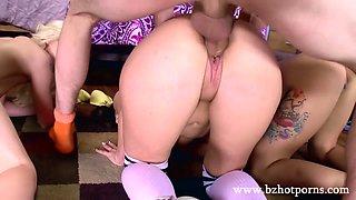 Three beautiful ladies shares one huge stiff manhood