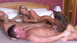 Naughty blonde brings her friend Sammy over to double team her husband Jake's cock.