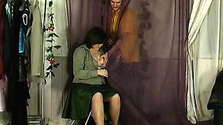 Vintage secretary in stockings get fucked hard
