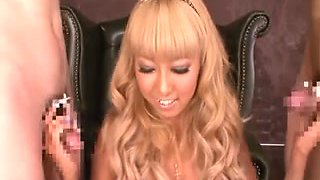 Japanese blonde crammed and sprayed bukkake style