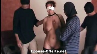 Cute French submissive girl gangbanged by multiple guys