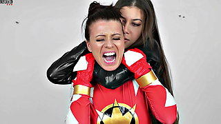 Lesbian Super heroes Sex Fight - Red Ranger defeated
