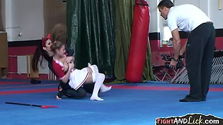 Sexy cheerlader and devil lesbian wrestle