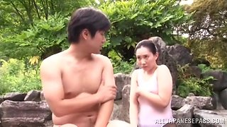 Mika Nanase rides a dick and gets fingered in outdoor bath