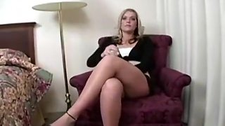 Sexy Blond secretary masturbating and Orgasm on the Sybian