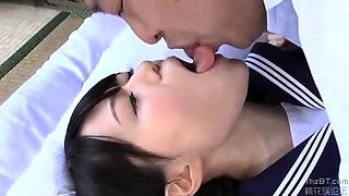 Mako Higashio Asian teen in school uniform licks ass