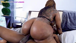 Big black booty babe riding bbc cowgirl