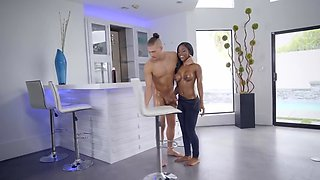 Shy black girl ready to have anal sex with white man