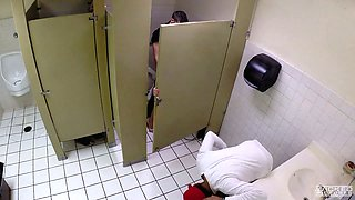 Charming damsel Miss Melrose fucked hard in public toilet