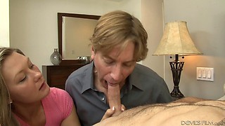 Couple sucks a dick together and both get fucked by it