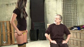 She strips for him and then gets spanked until her ass is swollen