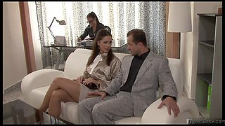 Hot office ladies in threesome