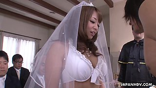Naked groom and sexy Japanese bride in white lingerie have great sex