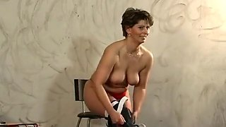 Amazing homemade Brunette, BDSM adult clip