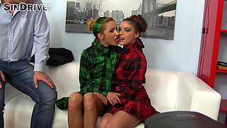 Mini-skirt clad porn star with long red hair enjoying a hardcore threesome