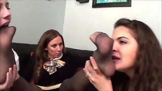 Religous woman gets her feet double worshiped