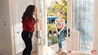 Bisexual wife Chanel Preston fucks young babysitter Nina North right in the kitchen