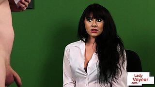 English voyeur instructs wanking session